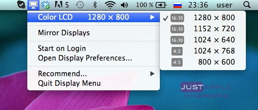 Меняем разрешение экрана в OS X ML с помощью Display Menu
