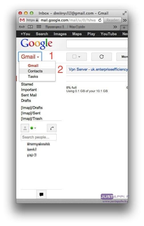 Переносим контакты с gmail на iPhone